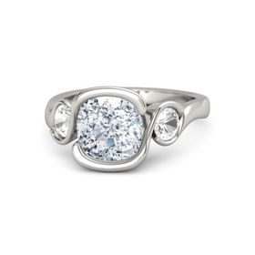 Cushion Diamond 14K White Gold Ring with Rock Crystal