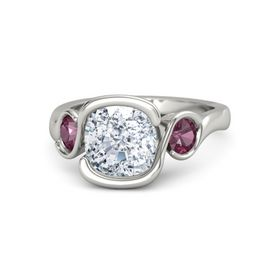 Cushion Diamond 14K White Gold Ring with Rhodolite Garnet