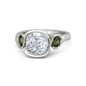 Cushion Diamond 14K White Gold Ring with Green Tourmaline