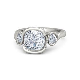 Cushion Diamond 14K White Gold Ring with Moissanite