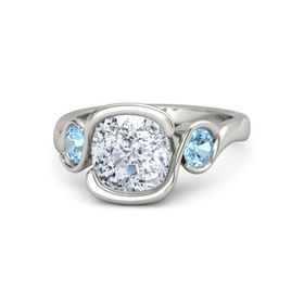 Cushion Diamond 14K White Gold Ring with Blue Topaz