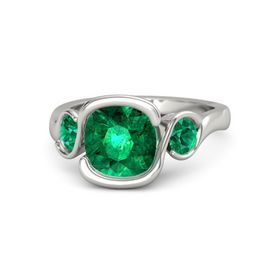 Cushion Emerald 14K White Gold Ring with Emerald