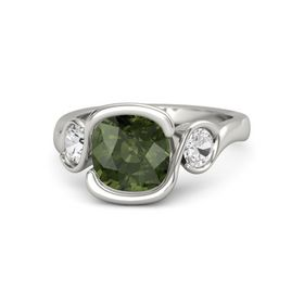 Cushion Green Tourmaline 14K White Gold Ring with White Sapphire