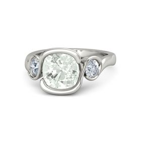 Cushion Green Amethyst 14K White Gold Ring with Moissanite