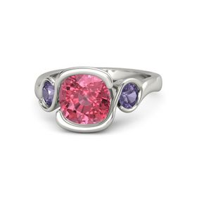 Cushion Pink Tourmaline 14K White Gold Ring with Iolite