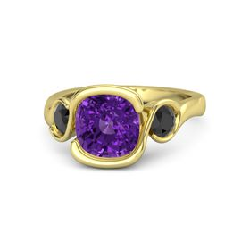 Cushion Amethyst 14K Yellow Gold Ring with Black Diamond