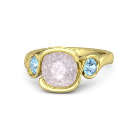 Cushion Rose Quartz 14K Yellow Gold Ring with Blue Topaz