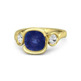 Cushion Blue Sapphire 14K Yellow Gold Ring with White Sapphire