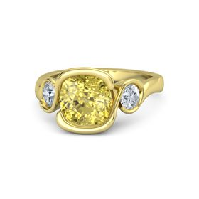 Cushion Yellow Sapphire 14K Yellow Gold Ring with Moissanite