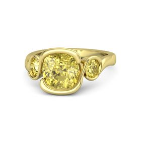 Cushion Yellow Sapphire 14K Yellow Gold Ring with Yellow Sapphire