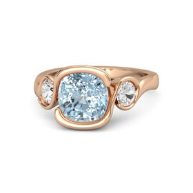 Cushion Aquamarine 18K Rose Gold Ring with White Sapphire