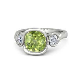 Cushion Peridot 18K White Gold Ring with Diamond