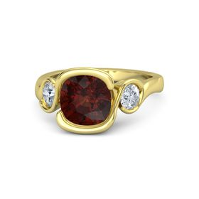 Cushion Red Garnet 18K Yellow Gold Ring with Diamond