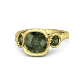 Cushion Green Tourmaline 18K Yellow Gold Ring with Green Tourmaline