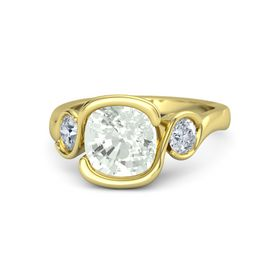 Cushion Green Amethyst 18K Yellow Gold Ring with Diamond