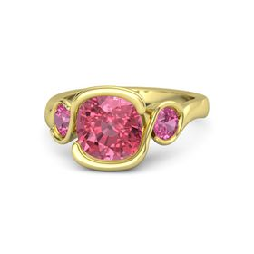 Cushion Pink Tourmaline 18K Yellow Gold Ring with Pink Tourmaline