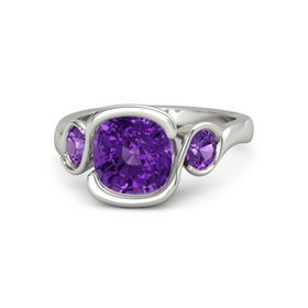 Cushion Amethyst Palladium Ring with Amethyst