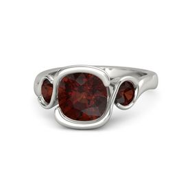 Cushion Red Garnet Palladium Ring with Red Garnet