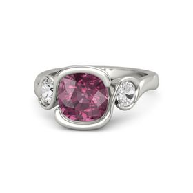 Cushion Rhodolite Garnet Palladium Ring with White Sapphire
