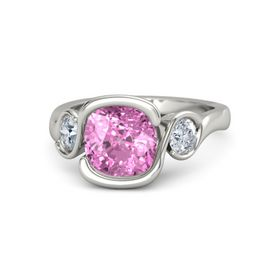 Cushion Pink Sapphire Palladium Ring with Diamond