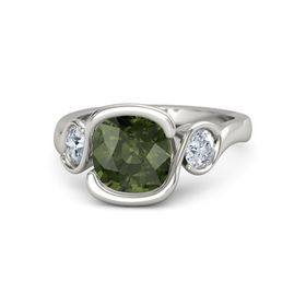 Cushion Green Tourmaline Palladium Ring with Diamond