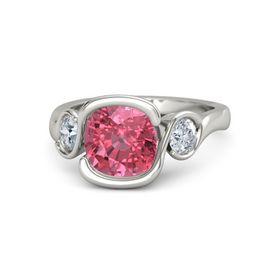 Cushion Pink Tourmaline Palladium Ring with Diamond