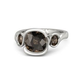 Cushion Smoky Quartz Palladium Ring with Smoky Quartz