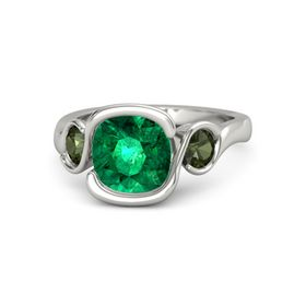 Cushion Emerald Platinum Ring with Green Tourmaline