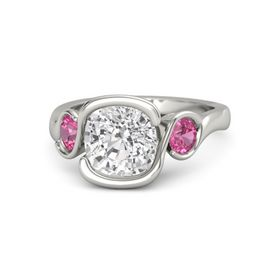 Cushion White Sapphire Platinum Ring with Pink Tourmaline