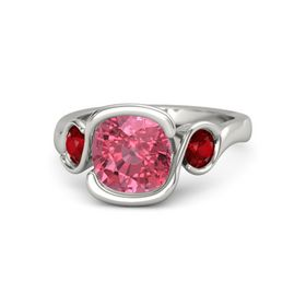 Cushion Pink Tourmaline Platinum Ring with Ruby
