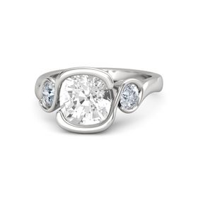 Cushion Rock Crystal Sterling Silver Ring with Diamond