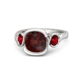 Cushion Red Garnet Sterling Silver Ring with Ruby