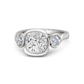 Cushion White Sapphire Sterling Silver Ring with Diamond