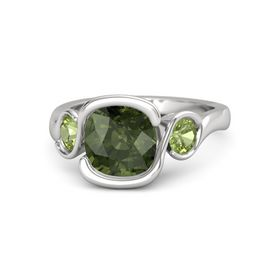 Cushion Green Tourmaline Sterling Silver Ring with Peridot