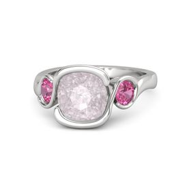 Cushion Rose Quartz Sterling Silver Ring with Pink Tourmaline
