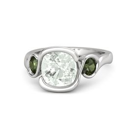 Cushion Green Amethyst Sterling Silver Ring with Green Tourmaline