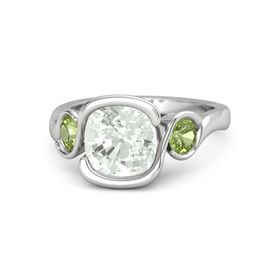 Cushion Green Amethyst Sterling Silver Ring with Peridot