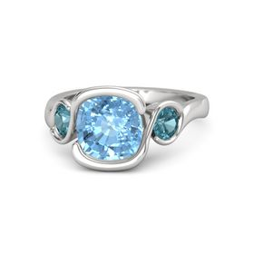 Cushion Blue Topaz Sterling Silver Ring with London Blue Topaz