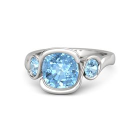 Cushion Blue Topaz Sterling Silver Ring with Blue Topaz