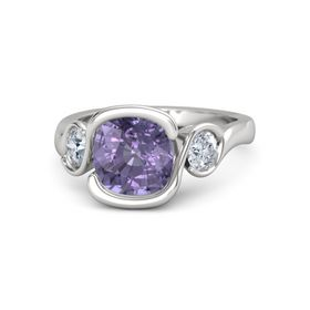 Cushion Iolite Sterling Silver Ring with Diamond