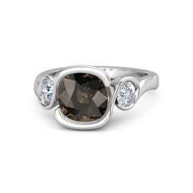 Cushion Smoky Quartz Sterling Silver Ring with Moissanite