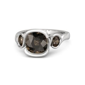 Cushion Smoky Quartz Sterling Silver Ring with Smoky Quartz