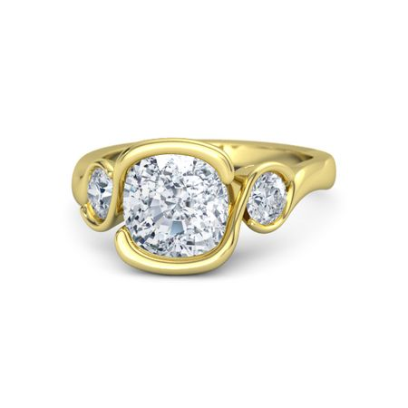 Cushion Diamond 14k Yellow Gold Ring With Diamond Cushion Cut