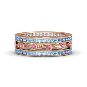 14K Rose Gold Ring with Pink Tourmaline and Blue Topaz