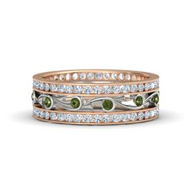 14K Rose Gold Ring with Green Tourmaline & Diamond