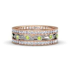 14K Rose Gold Ring with Peridot and Diamond