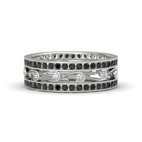 14K White Gold Ring with Diamond & Black Diamond