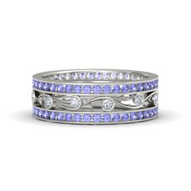 14K White Gold Ring with Diamond and Tanzanite