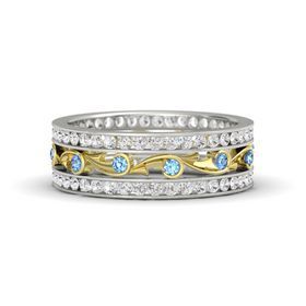 14K White Gold Ring with Blue Topaz & White Sapphire