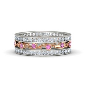 14K White Gold Ring with Pink Sapphire & Diamond